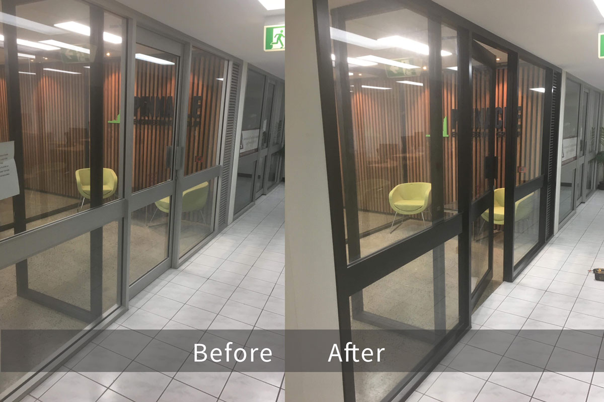 Repainting Aluminium Door Before & After
