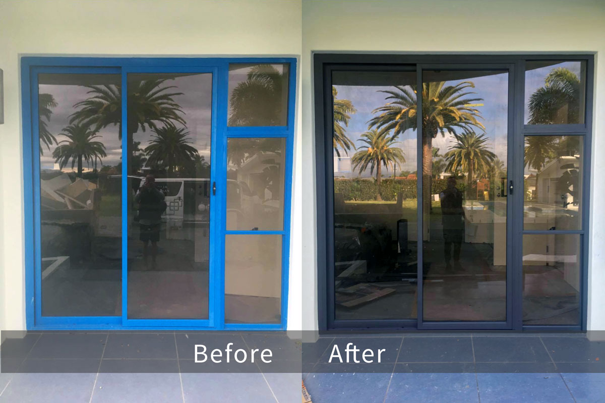 Recolouring Aluminium Door Before & After